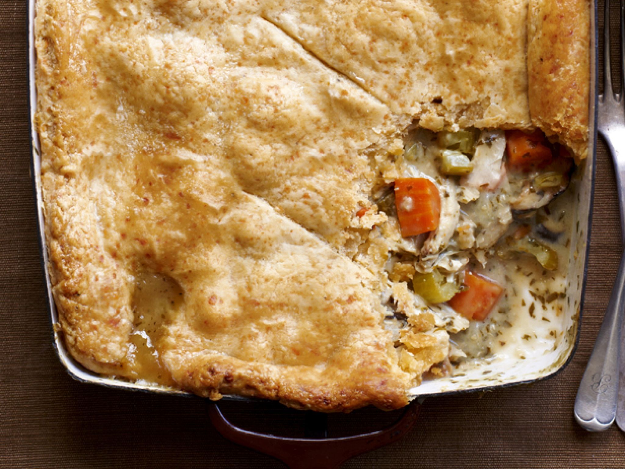 Comforting casserole recipes food network chicken potpie chicken pot pie with cheddar crust for this cozy feast save your chicken bones forumfinder Gallery