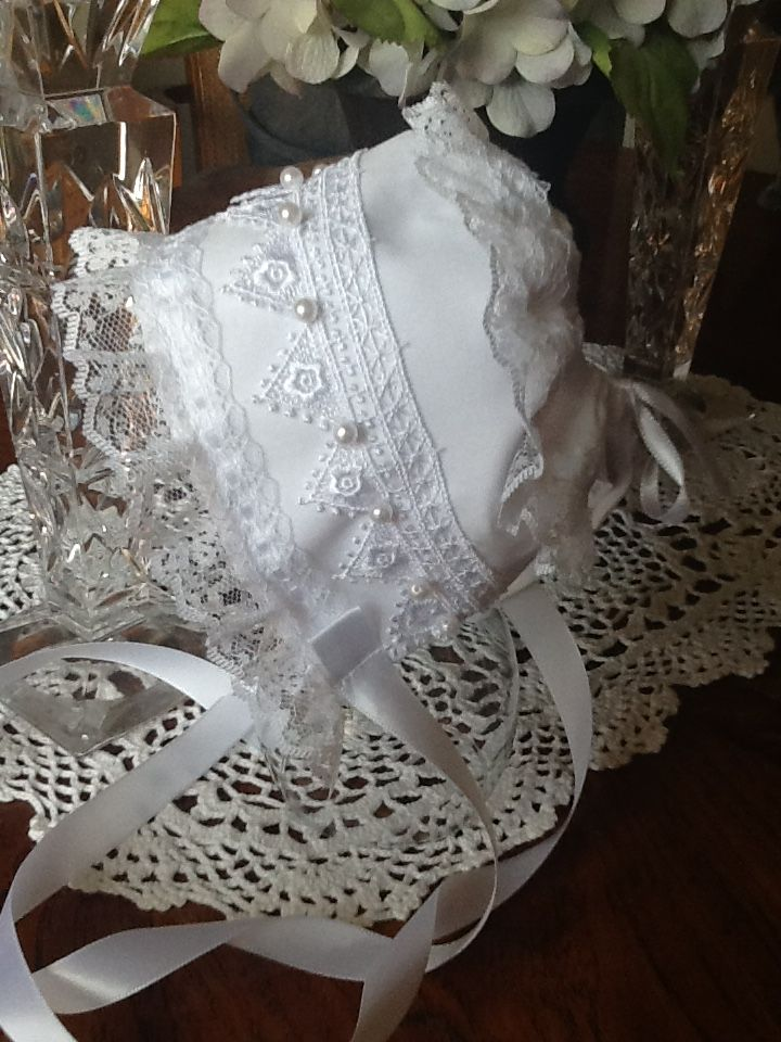 Christening Bonnet handmade. See Tears of Joy by Ruth on Etsy ...