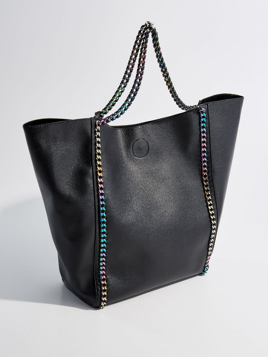 Shopper taška s viacfarebnou retiazkou - čierna - UG046-99X - Mohito ... f5aaa1ff514