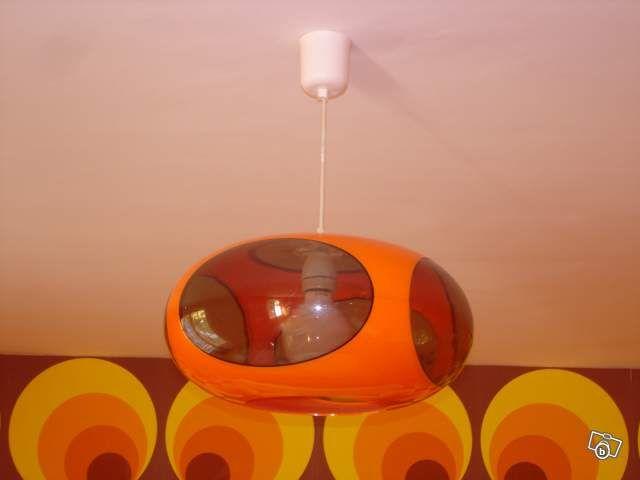 Orange Bubble Ceiling Light 70 S Style 70s Decor Mid Century Modern Lamps Mid Century Modern Lighting