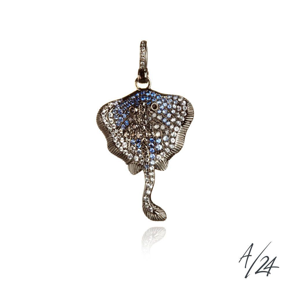 Mythology lost stingray pendant in 18ct white gold black diamond mythology lost stingray pendant in 18ct white gold black diamond grey diamond blue mozeypictures Gallery