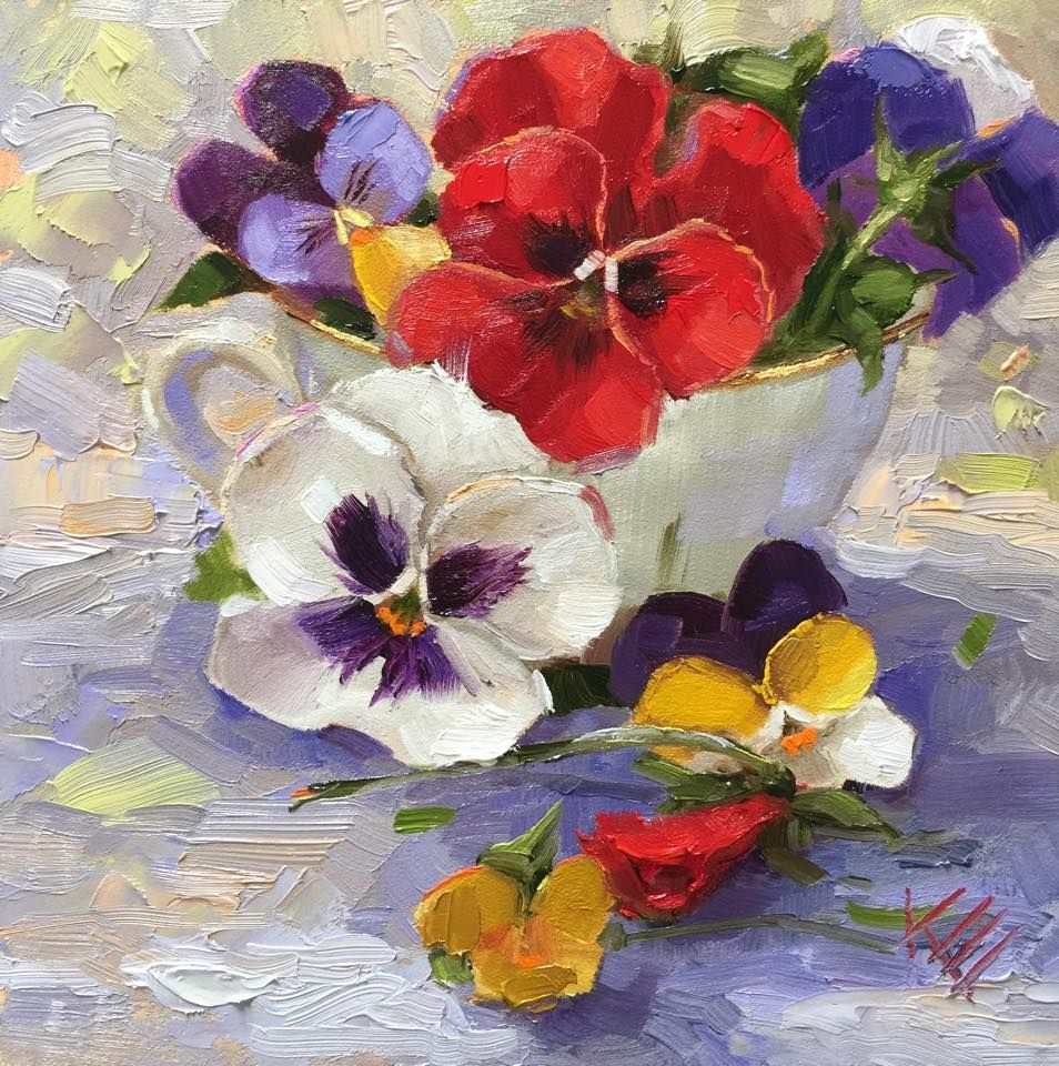 Colorful Cup Of Pansy Flower Painting With A Palette Knife So Very