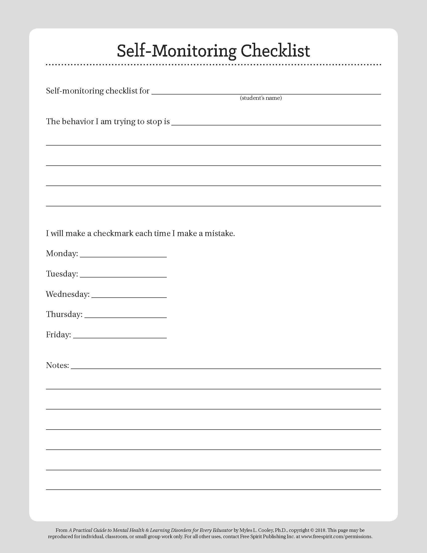 Free Printable Behavior Worksheets