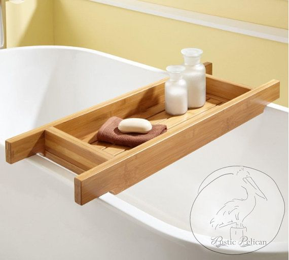Wood Bath Caddy Wood Bathtub Tray wooden Bath by RusticPelican ...