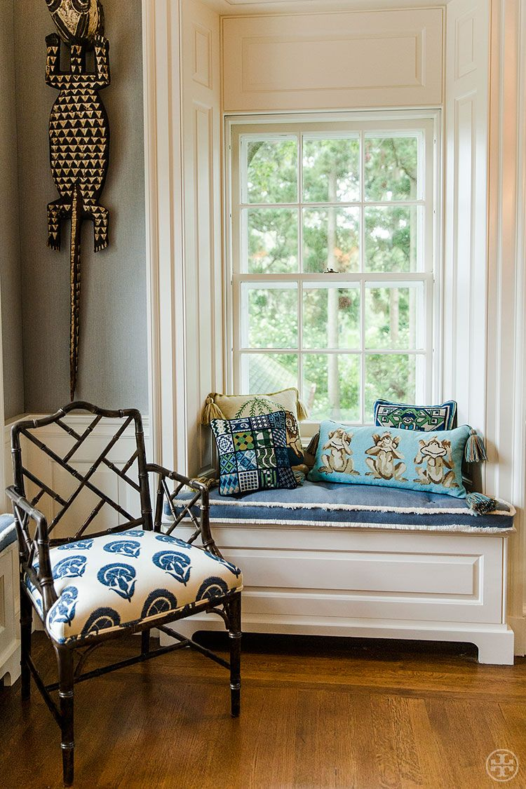 """Depicting the proverb, """"see no evil, hear no evil, speak no evil,"""" the Monkey See needlepoint pillow from Tory Burch infuses any living space with wit and a cheeky sense of wisdom."""