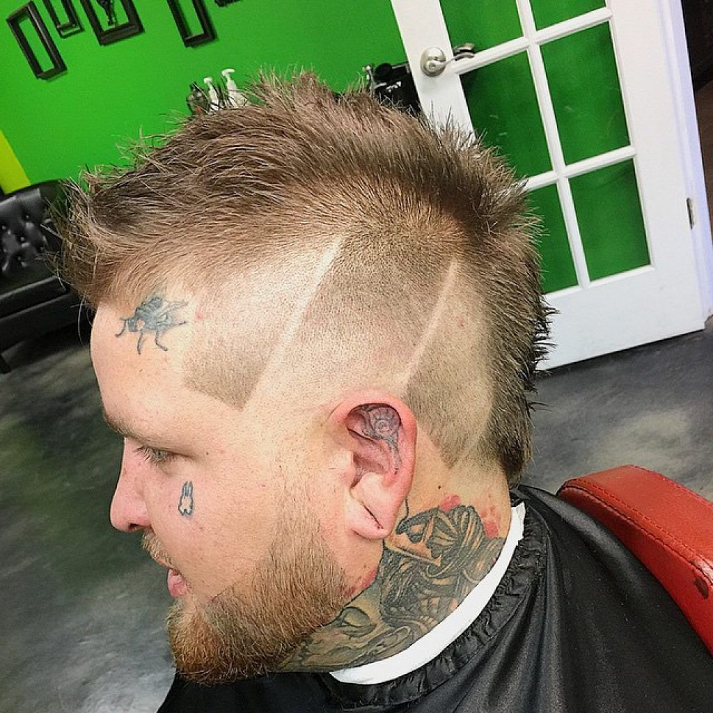 faux hawk design tattoo haircuts