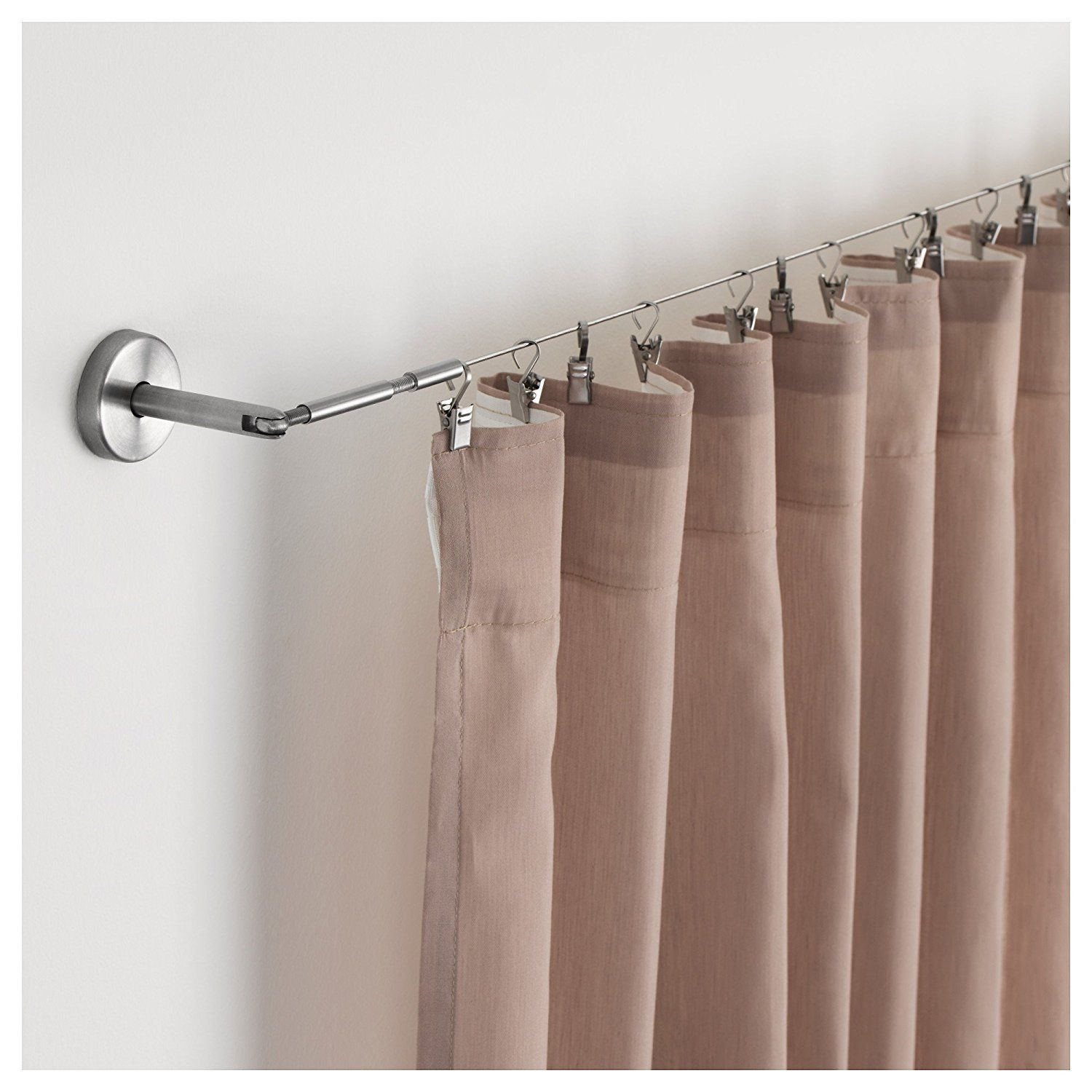 Ikea Riktig Stainless Steel Curtain Hook With Clip 24 Per Package Baby Here Hung On A Wire Ikea Curtain Rods Curtain Wire Room Divider Curtain