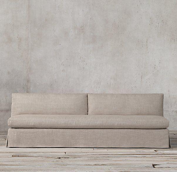 Petite Belgian Slope Arm Slipcovered Armless Sofa