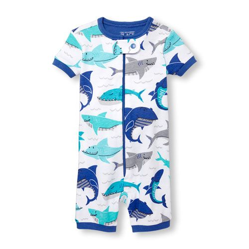 bfcc71a35 Baby And Toddler Boys Short Sleeve Shark Print Cropped Snug-Fit Stretchie |  The Children's Place