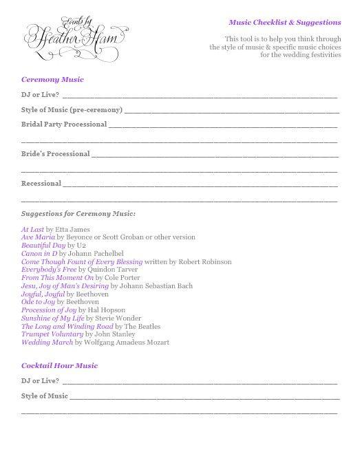 Wedding Ceremony Checklist Events By Heather Ham Free Stuff