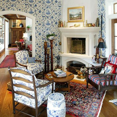 Traditional Living Room english cottage Design Ideas, Pictures, Remodel and Decor