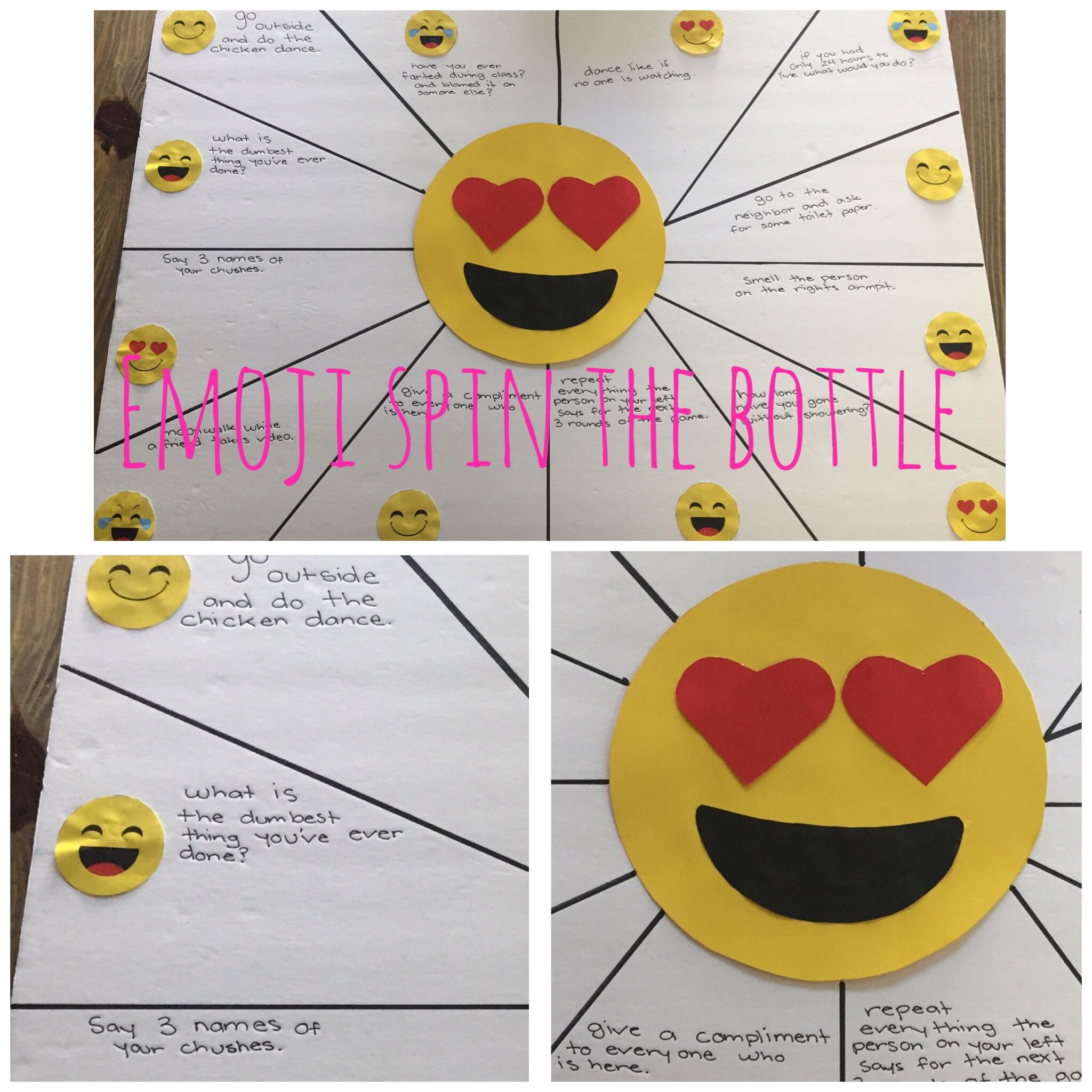 Emoji Spin The Bottle Game Super Easy To Make Perfect For My 12 Year Olds Daughters Birthday Party
