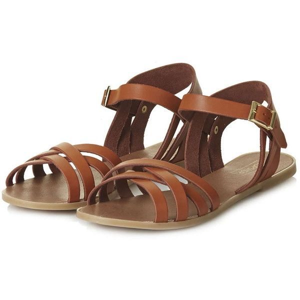 TopShop Hammock Sandals ($28) ❤ liked on Polyvore featuring shoes, sandals, strappy flat sandals, strap flat shoes, flat shoes, topshop shoes and strappy flat shoes