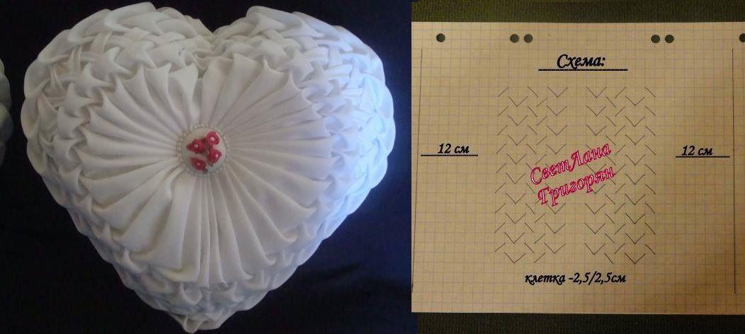 Canadian Smocking heart shaped cushion pattern 2 | буфы МК