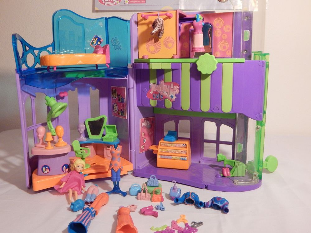 Polly Pocket Polly's Cafe Mall Boutique Hair Salon w/ Doll Clothes & Accessories #Mattel #DollswithMallandAccessories