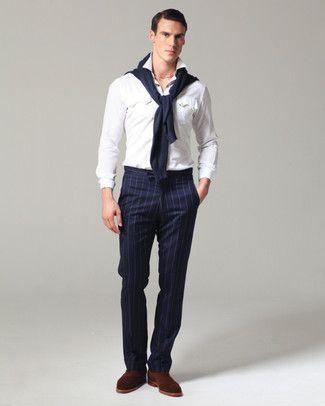 Como Combinar Un Pantalon De Vestir De Rayas Verticales En 2017 55 Formas Moda Para Hombres White Long Sleeve Shirt Vertical Striped Dress Menswear