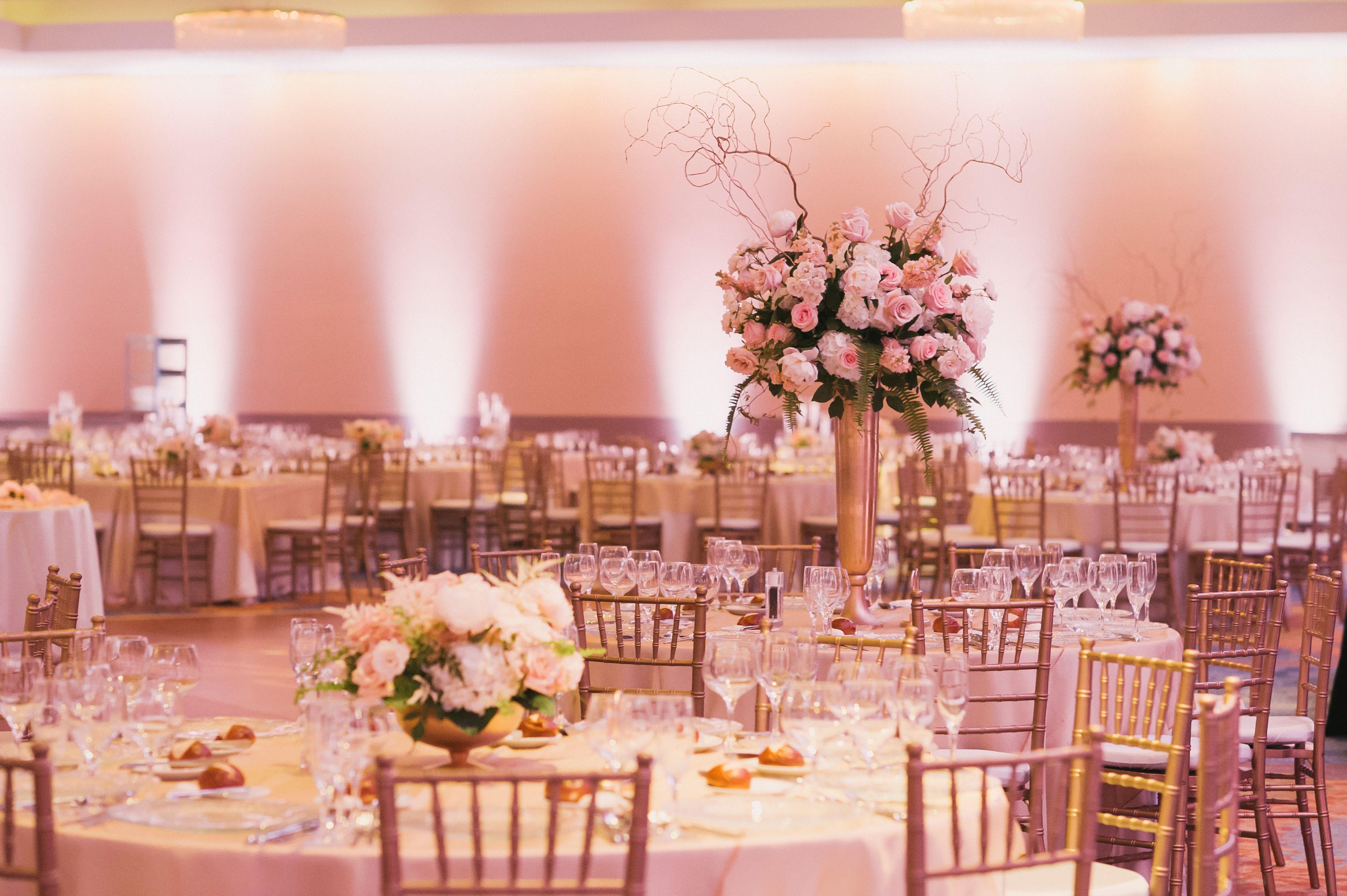 Dramatic Pink and Gold Ballroom Decor // Summer Wedding at the ...