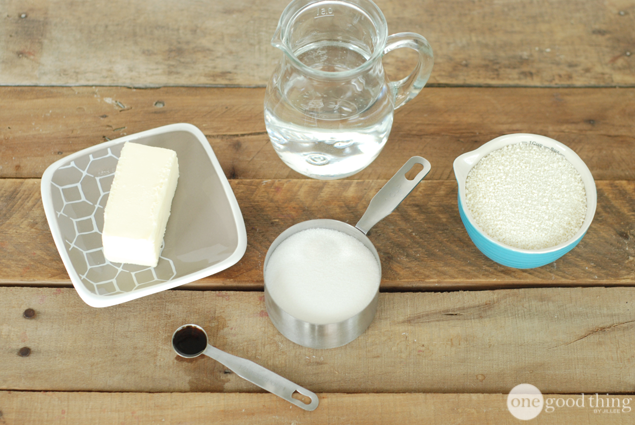 Homemade Sweetened Condensed Milk1/3 cup boiling water 4 tablespoons butter 3/4 cup sugar 1/2 teaspoon vanilla extract 1 cup powdered milk