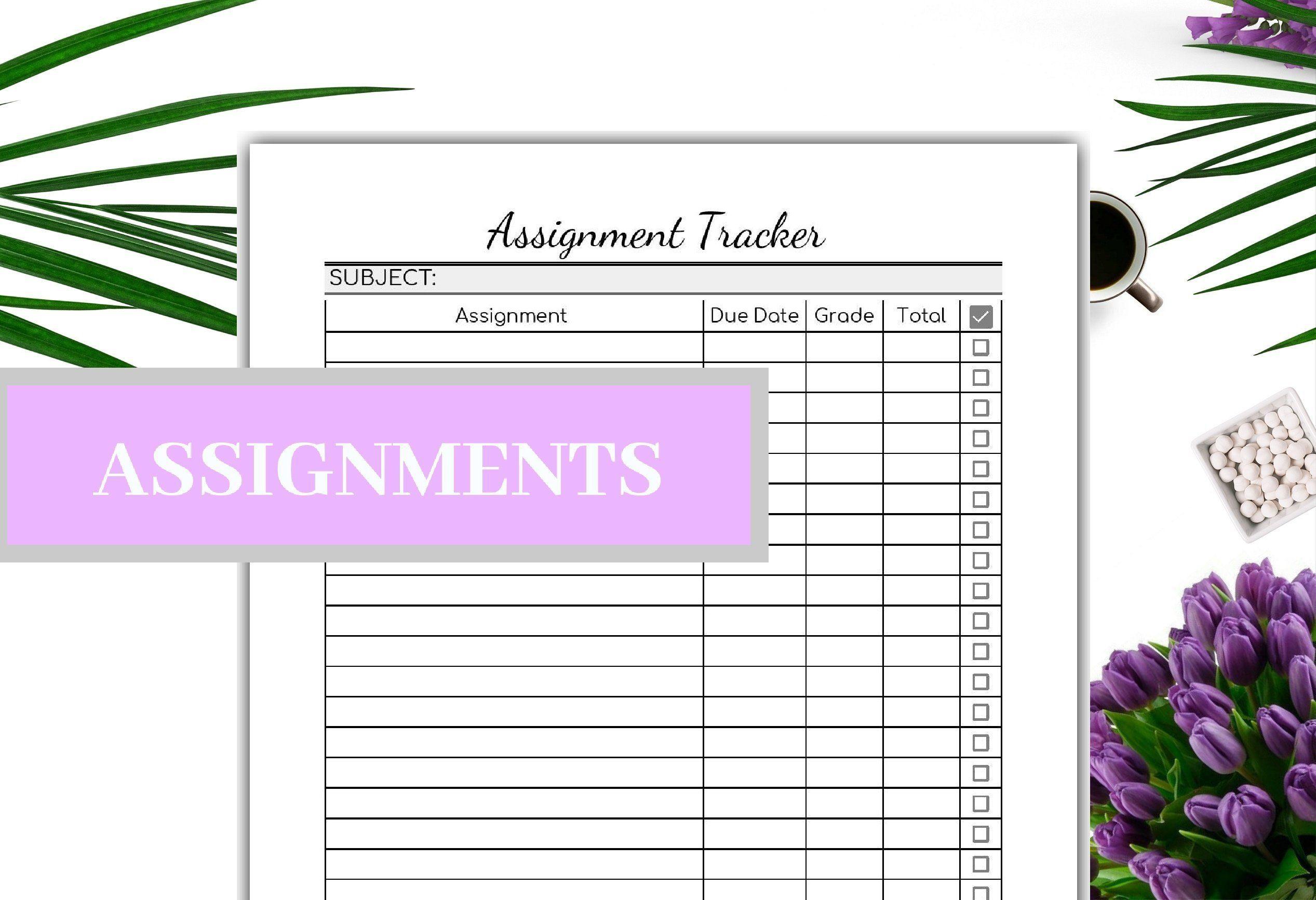 Assignment Tracker Printable Editable - Grade Tracker-PDF