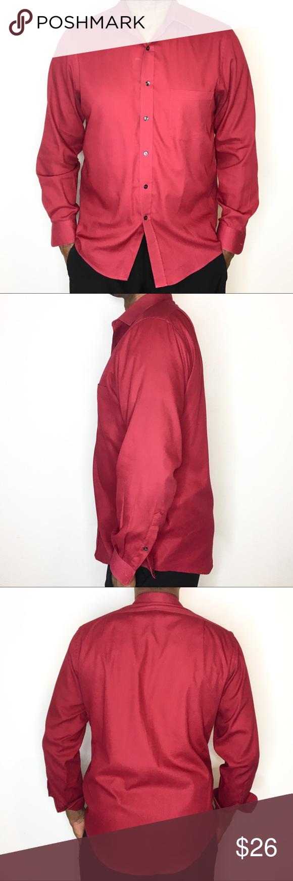 0f92ff320f8 Van Heusen pin cord Red Button Down Dress Shirt
