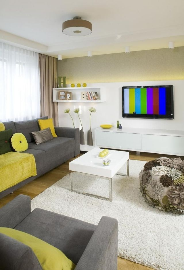 Wohnzimmer Modern Gastalten Grau Gelb Indirekte Beleuchtung Wohnwand