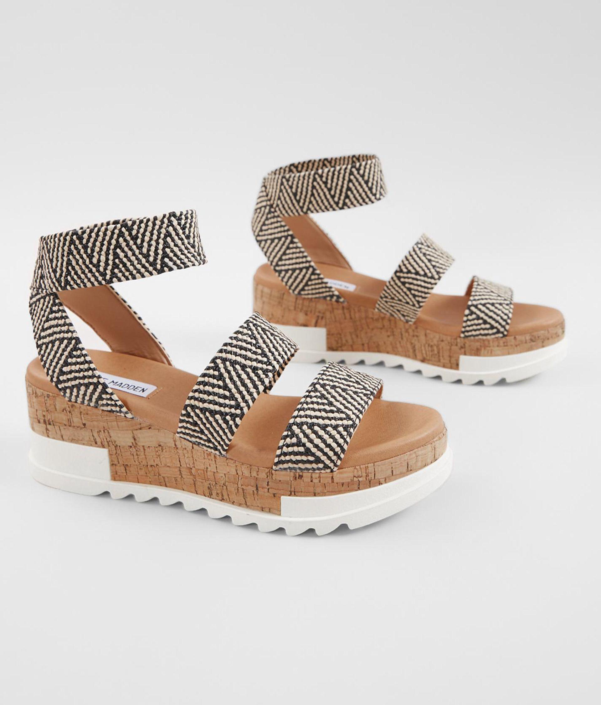 09948d2c41ed Steve Madden Bandi Flatform Sandal - Women s Shoes in Black Tan Raffia