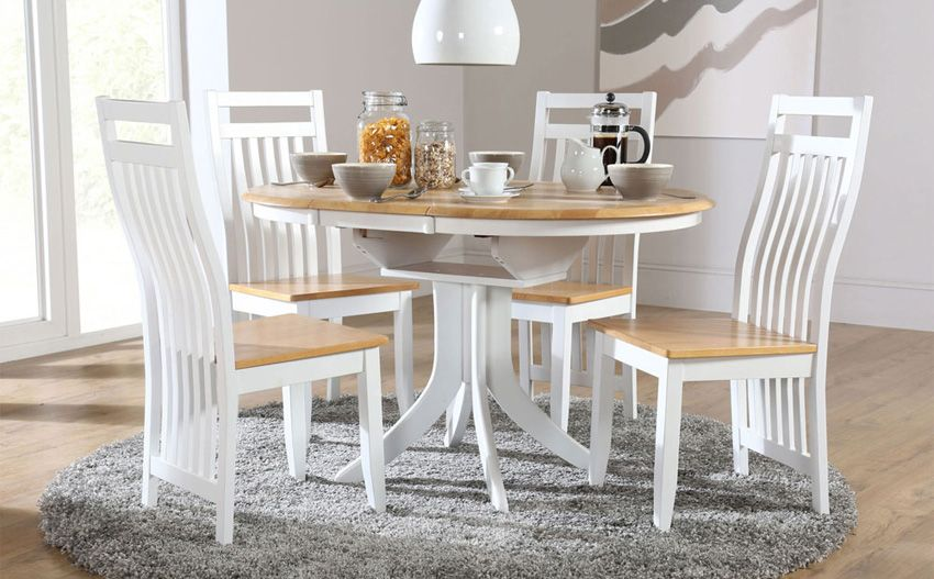 Hudson White Two Tone Extending Dining Table