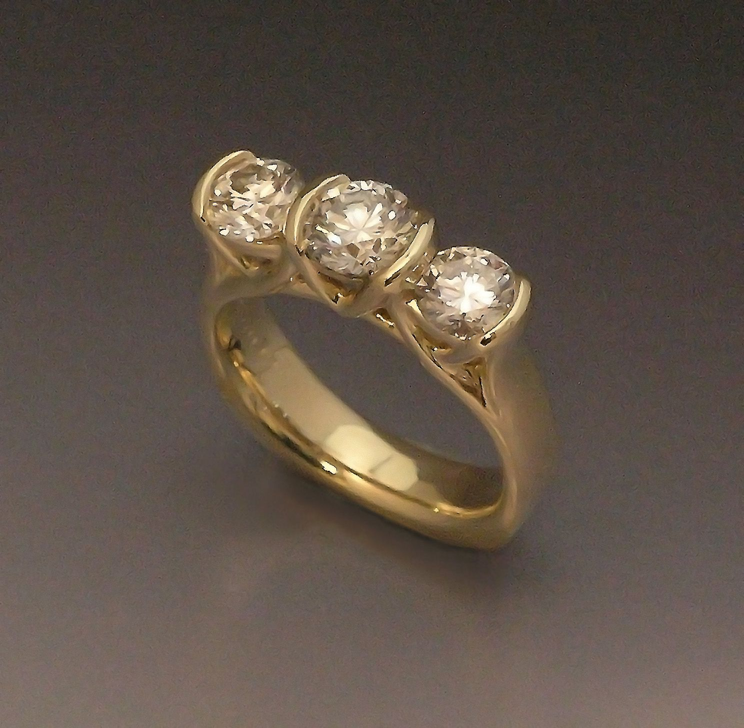 Restyled Triple Diamond Ring in 14k Yellow Gold, by Mary Wong.