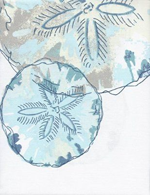 Coastal Collection Shower Curtain Sand Dollar Watercolor Blues