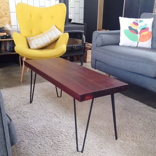 small hairpin leg coffee table with jarrah top                                                                                                                                                     More