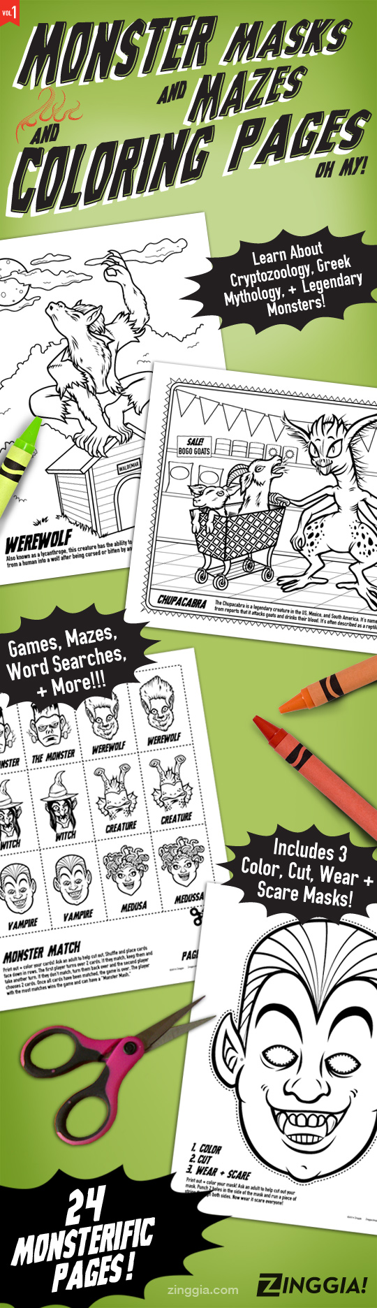 24 Monster Coloring Book Pages with games & monster masks ...