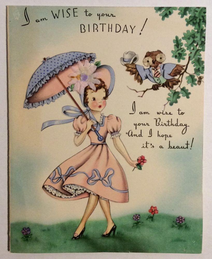 Pretty Girl Pink Dress Startled By Talking Owl Vintage Birthday Greeting Card Starye Pozdravitelnye Otkrytki Pozdravitelnye Otkrytki S Dnem Rozhdeniya