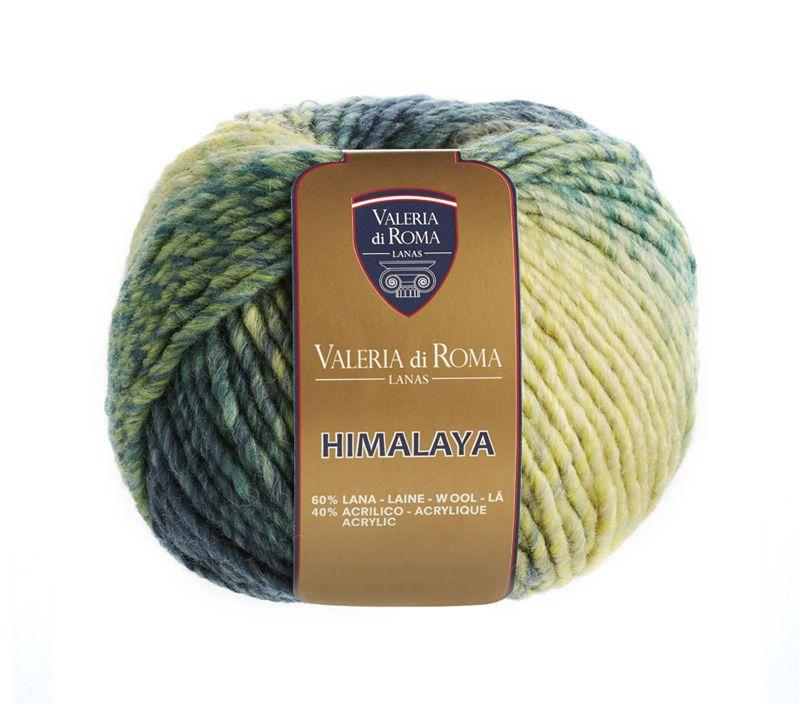"""""""Himalaya"""", un ovillo 60% Lana y 40% Acrílico de 100 gramos y 100 metros (109 yardas), ideal para usar con agujas del número 8-10. Cuenta con un surtido de 14 colores."""