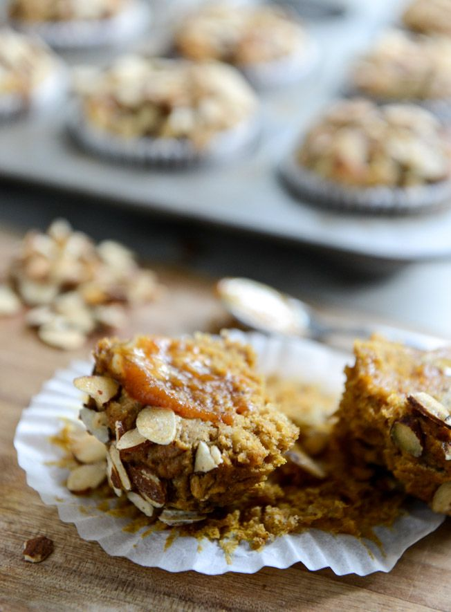 Whole Wheat Toasted Almond Pumpkin Muffins | How Sweet It Is