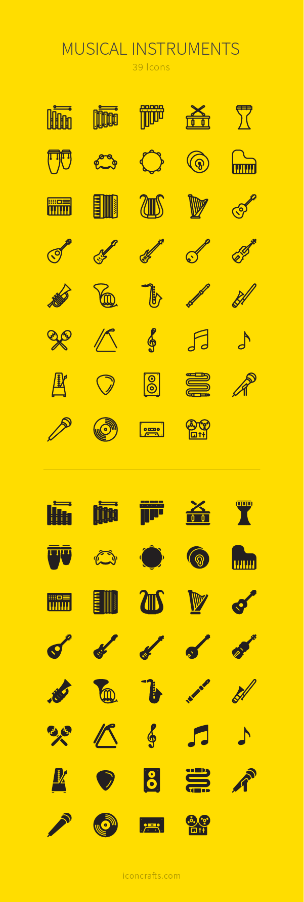 Musical Instruments icon set from Iconcrafts.com. Outline and filled versions available.