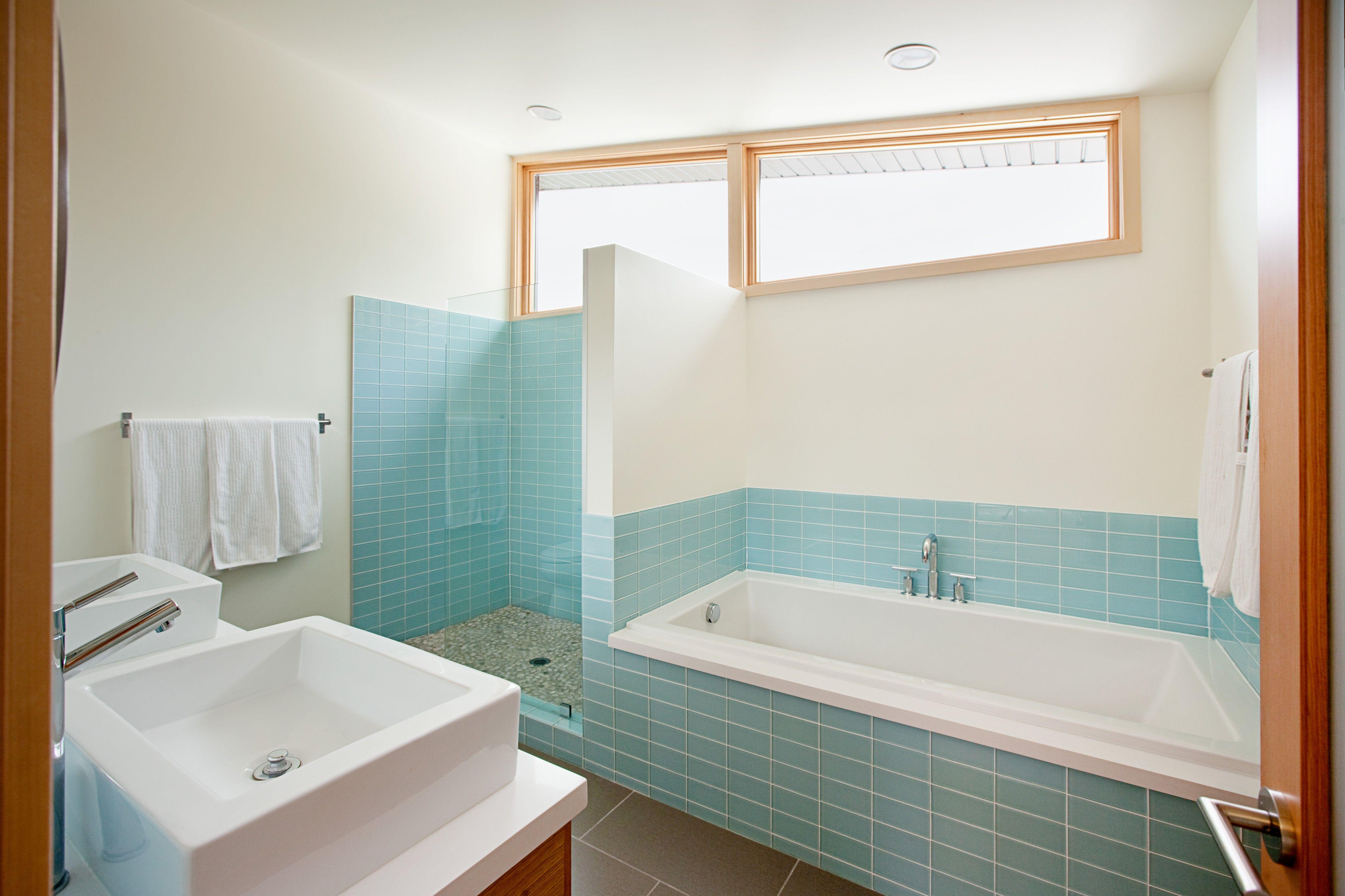 Modwalls Lush 3x6 Vapor pale blue glass subway tile master bath.by ...