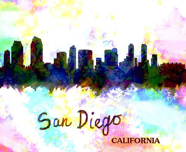San Diego Skyline Color By Enki Art In 2020 San Diego Skyline Art Skyline Painting