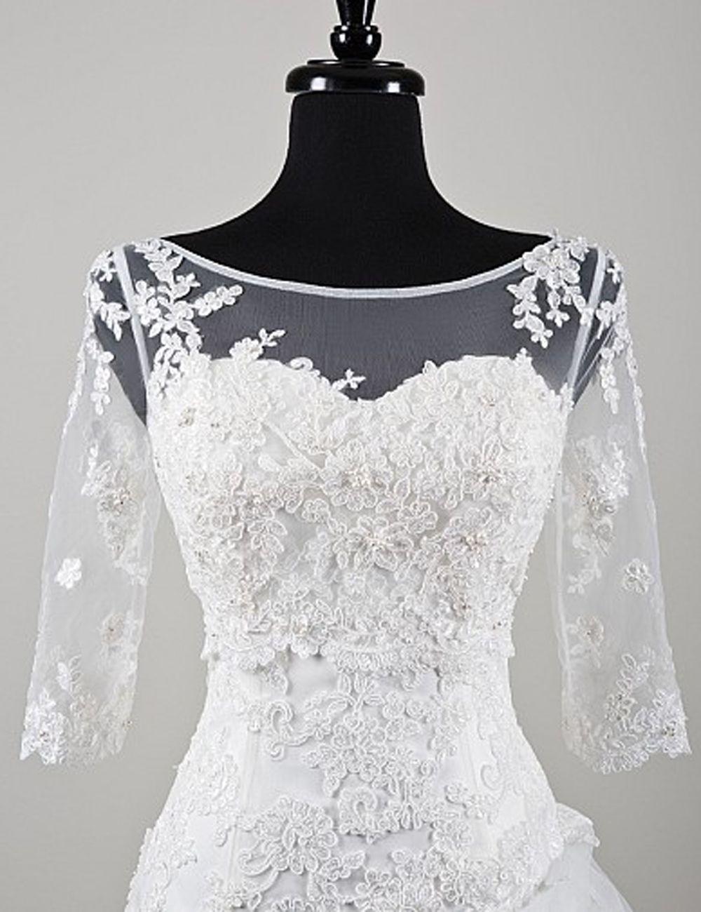 Find More Wedding Jackets Wrap Information About Illusion Top Boat Neck Half Sleeves Lace Applique Bri Bridal Jacket Lace Bridal Dresses Online Bridal Jacket
