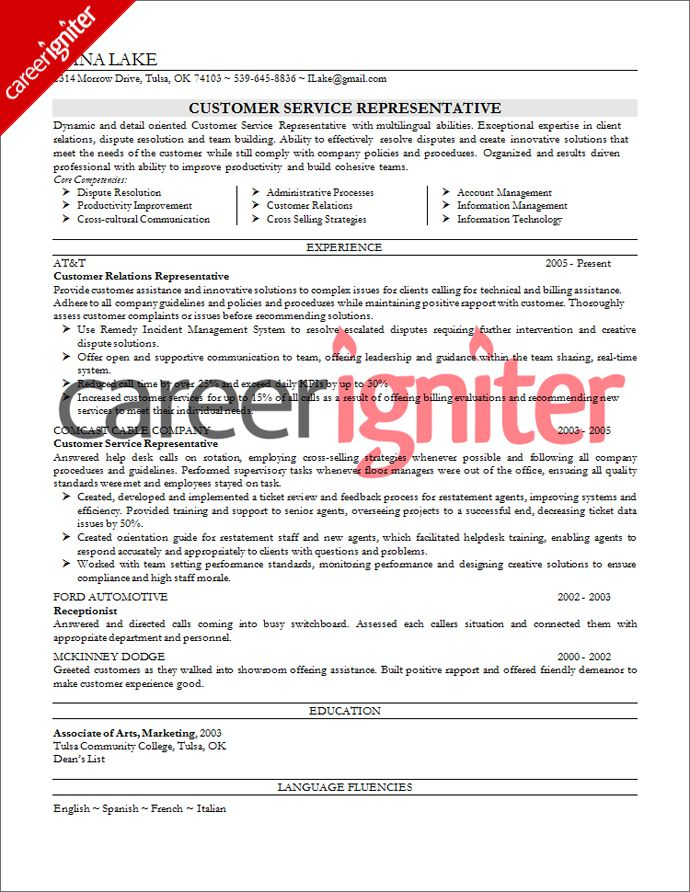 Customer Service Resume Sample Resume Pinterest Customer