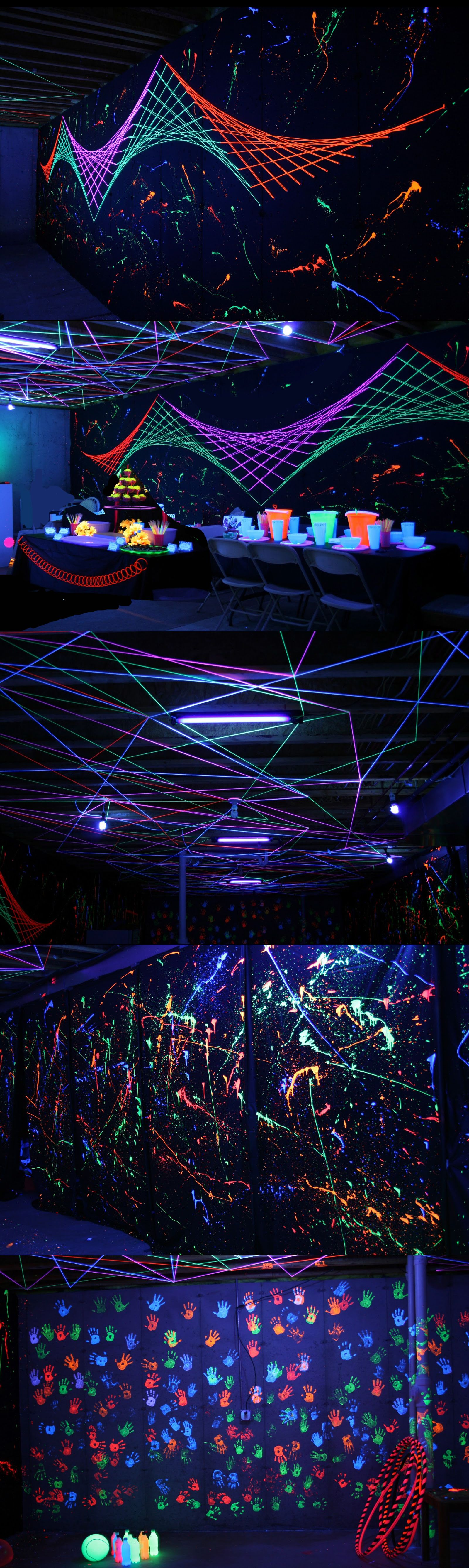 Black Light Party 101 Com Imagens Festa Neon