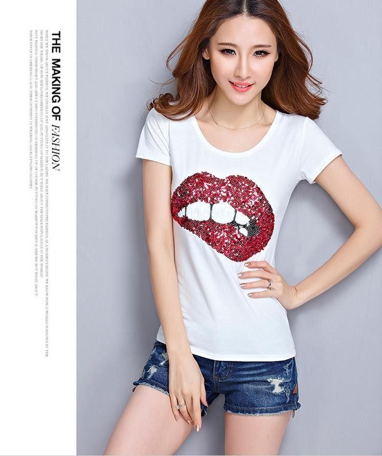 6c49c50787b Summer Style 2015 Fashion Brand T Shirt Women Sequined Lips Cotton Tshirt  Casual Short Sleeve T
