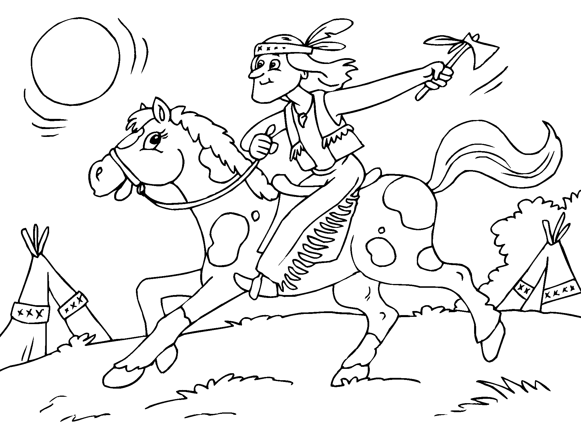 indian on horse coloring page  indianer pferde