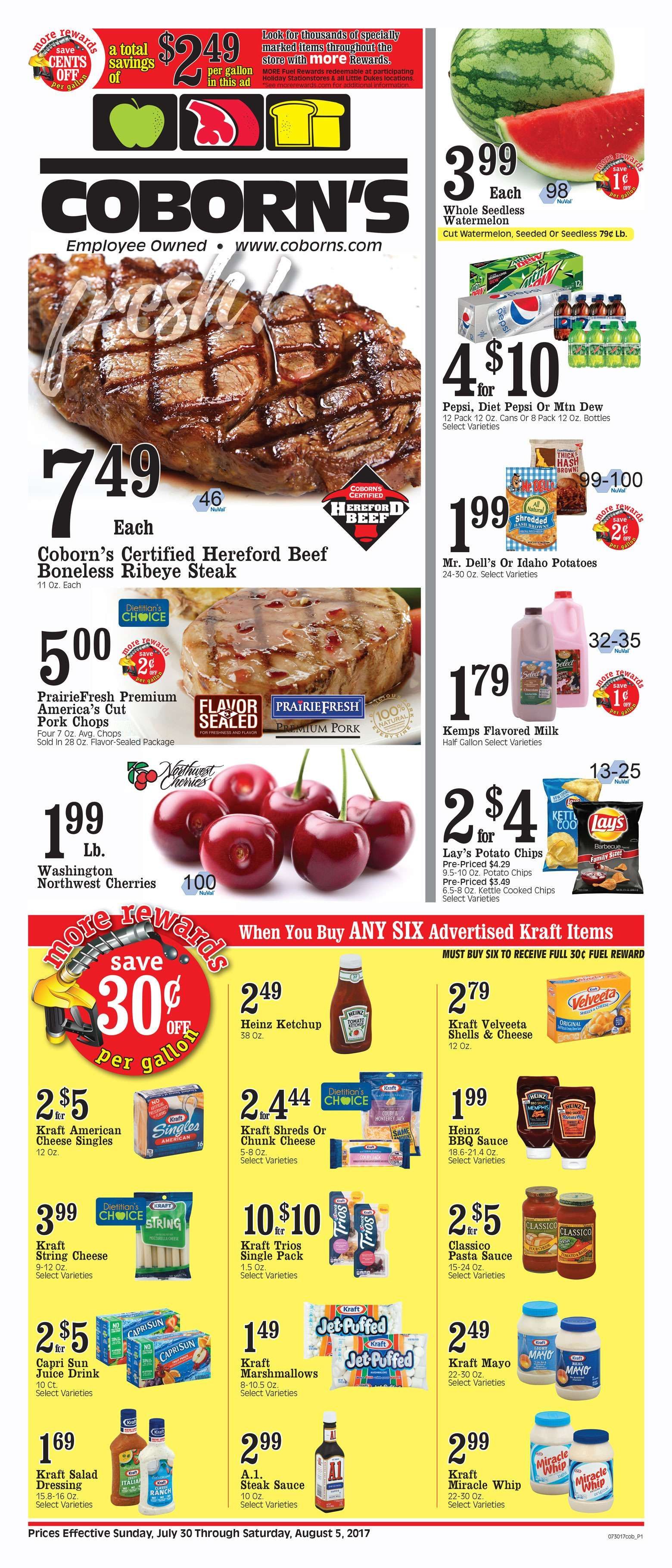 Coborn's Weekly Ad July 30 - August 5, 2017 - http://www.olcatalog.com/coborns/coborns-weekly-ad.html