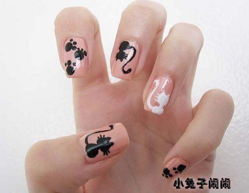 nail, nails, fingernails, design, art - Nail Art : Black Cat And White Cat Cat Nails, Fingernail Designs