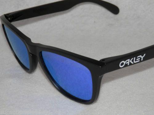 b6ea634f2 New Fake Oakley Frogskins 24 298 Matte Black with Violet Iridium Lens | eBay