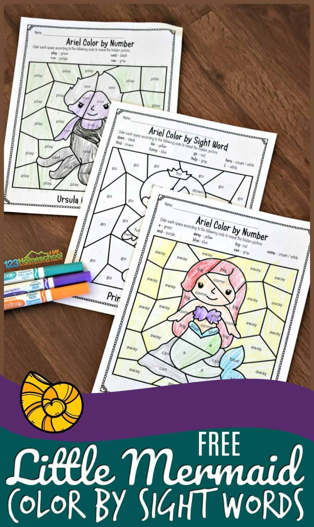 Free Little Mermaid Color By Sight Words