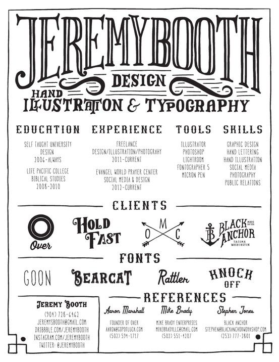 My Resume By Jeremy Booth, Via Behance  My New Resume