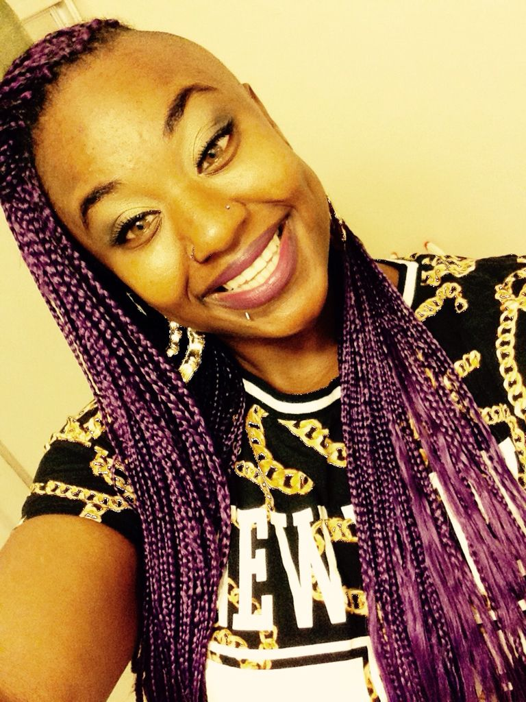 purple hair braids hazel eyes tori hazee double nose piercing rings bamboo earrings #doublenosepiercing
