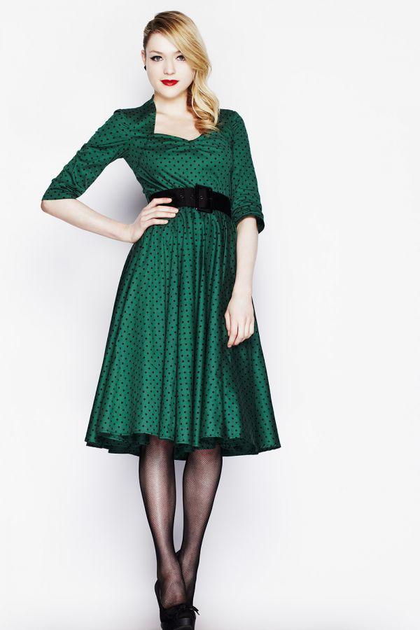 4a52c6ede1d9 Zelené Hell Bunny retro šaty Momo s černými puntíky