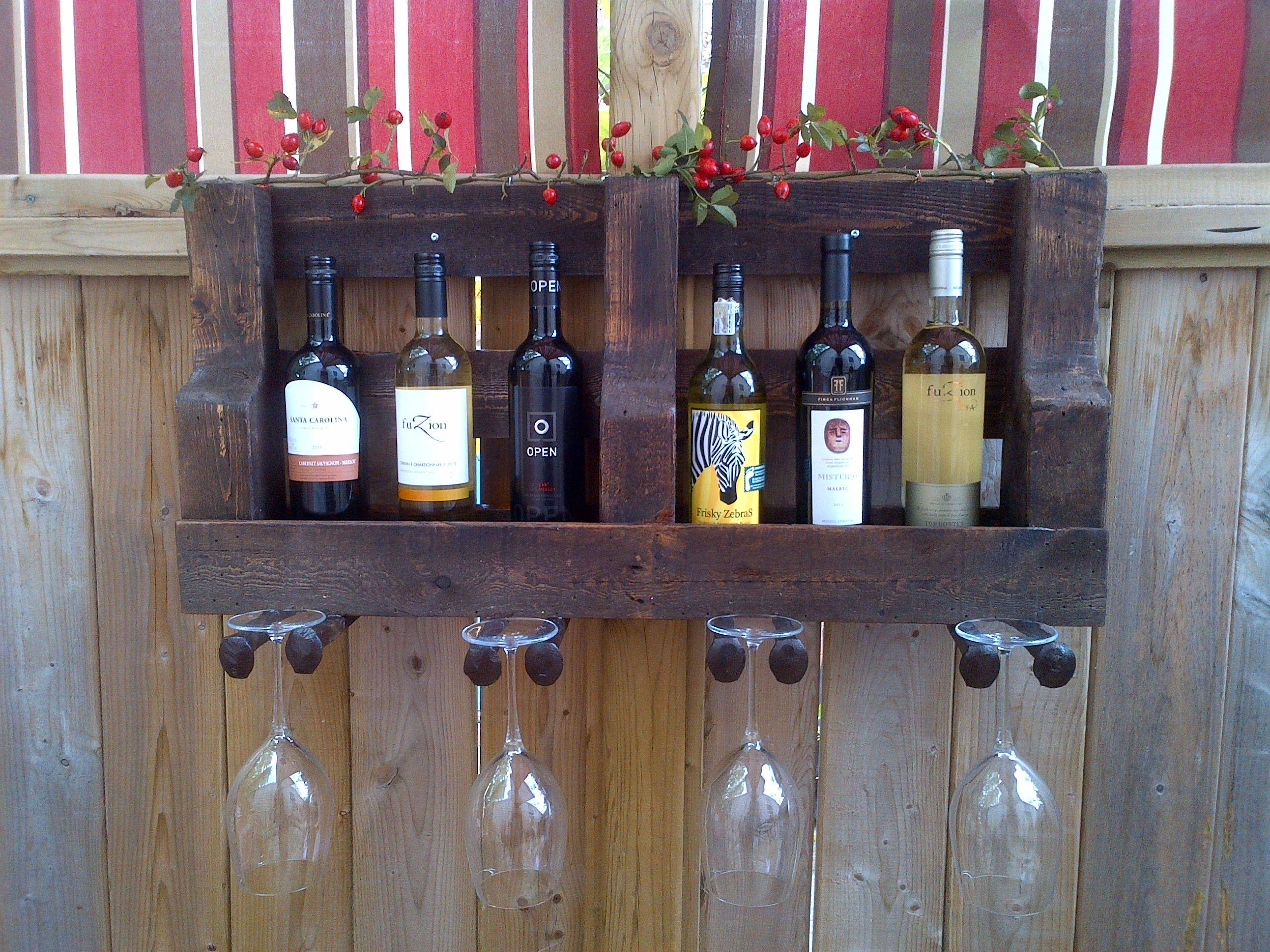 wine rack shelf made from reclaimed wood and railway spikes used ...